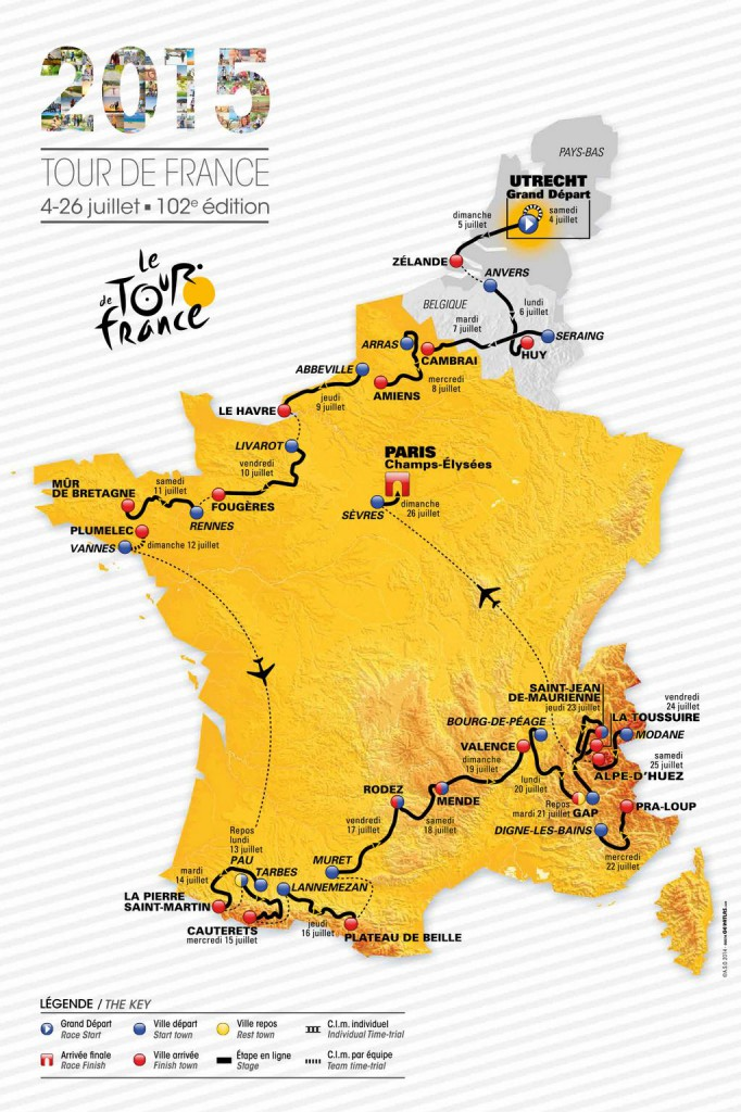 Routekaart Tour de France 2015 Fransemarkt.nl